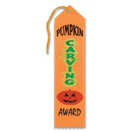 "Pack of 6 Orange â Pumpkin Carving"" Halloween Party Award Ribbon Bookmarks 8"