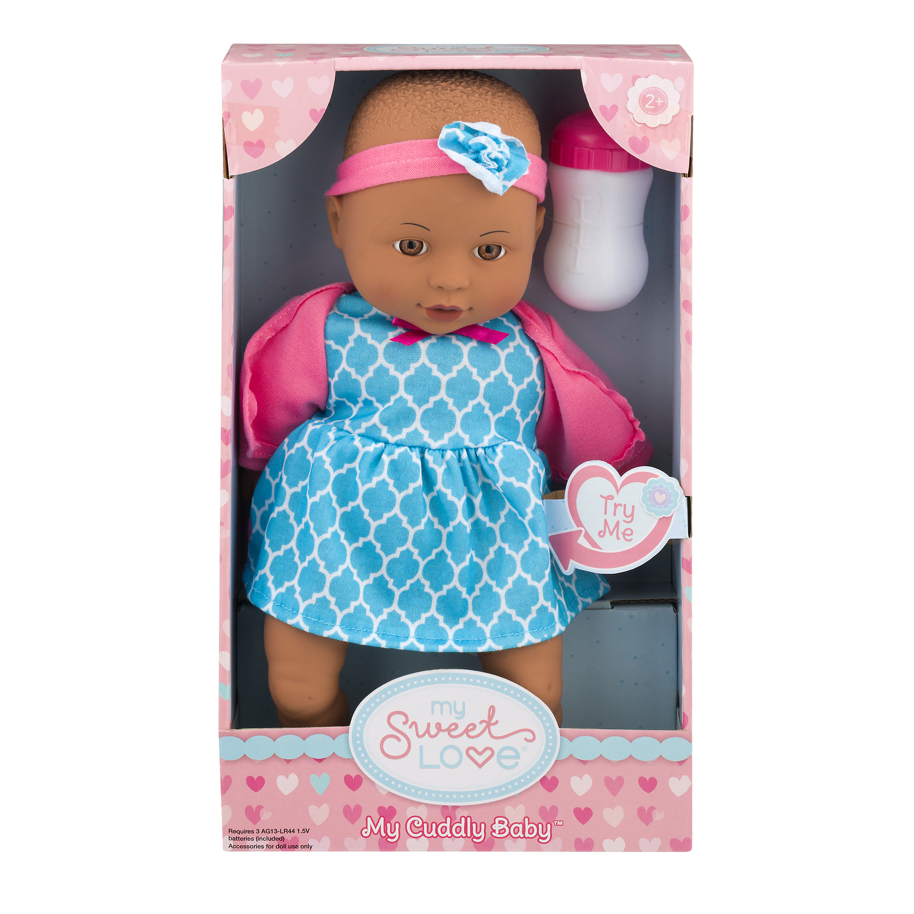 My Sweet Love 12.5-inch My Cuddly Baby with Sound Feature, African American, Pink Outfit