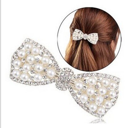 Pearl And Diamond Bow Hair Accessories F192- Gold - image 3 of 7