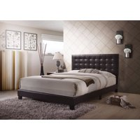 Sophisticated Transitional Style Queen Size Padded Bed, Brown