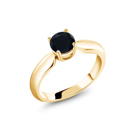 0.46 Ct Round Black Onyx 18K Yellow Gold Plated Silver Ring