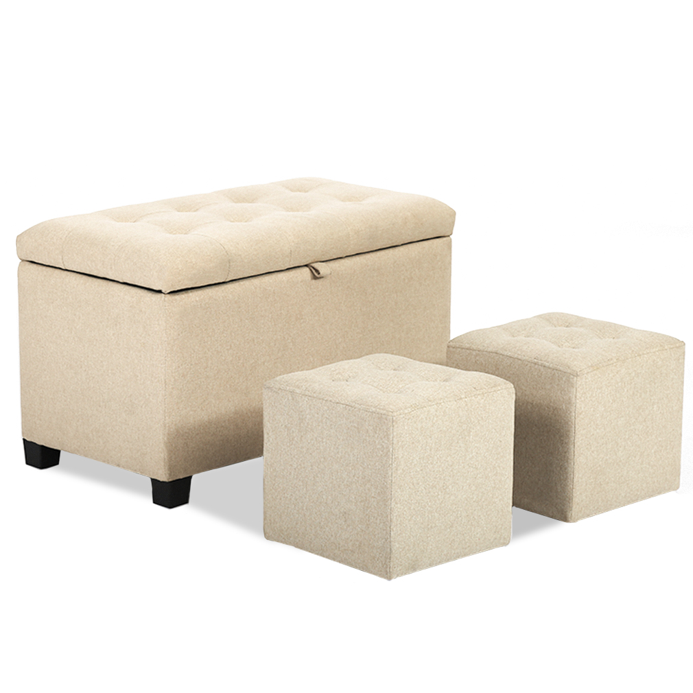 Ottoman Bench Storage Bench Bedroom Fabric Tufted Upholstered
