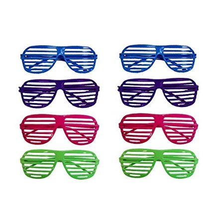 dazzling toys 80's 80's Slotted Toy Sunglasses Party Favors Costume - Pack of 12 - Assorted Colors - 80's Costume Party