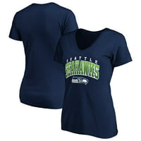 Women's Fanatics Branded College Navy Seattle Seahawks Faded Arch V-Neck T-Shirt