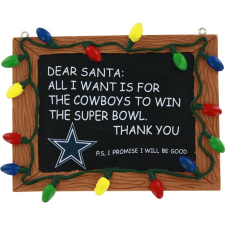 Dallas Cowboys Official NFL 3 inch  x 4 inch  Chalkboard Sign Christmas Ornament by Forever Collectibles - Dallas Cowboys Office Supplies