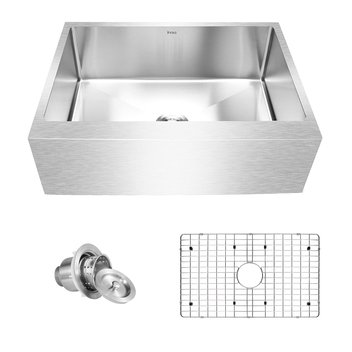 "Inoxs 30"" x 21"" x 10"" Farmhouse Apron Front Single Bowl 16 Gauge Stainless Steel Kitchen Sink/I-AES3021"