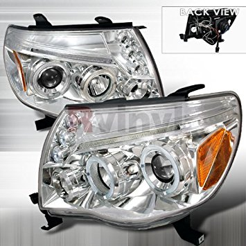 Spec-D Tuning Toyota Tacoma 2005 2006 2007 2008 2009 2010 LED Halo Projector Headlights - Chrome