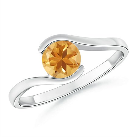 November Birthstone Ring - Semi Bezel-Set Solitaire Round Citrine Bypass Ring in 14K White Gold (5.5mm Citrine) - SR0427CT-WG-A-5.5-12