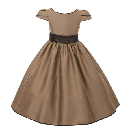 Brown Girls Dresses (Kids Dream Girls Taupe Brown Trim Satin Flared Junior Bridesmaid)