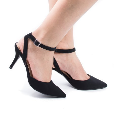 Stiletto Heel Slingback Pumps - Don by City Classified Comfort, Pointed Toe Sling Back Comfort Stiletto Heel Dress Pump