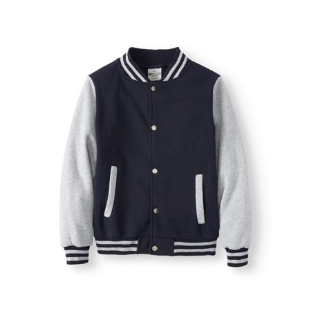 Bocini Boys Unlined Fleece Varsity Jackets, Sizes 6-16
