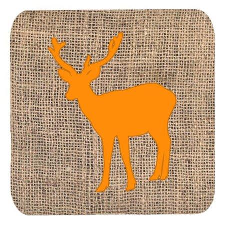 Deer Burlap and Orange Foam Coasters, Set - 4 - image 1 de 1