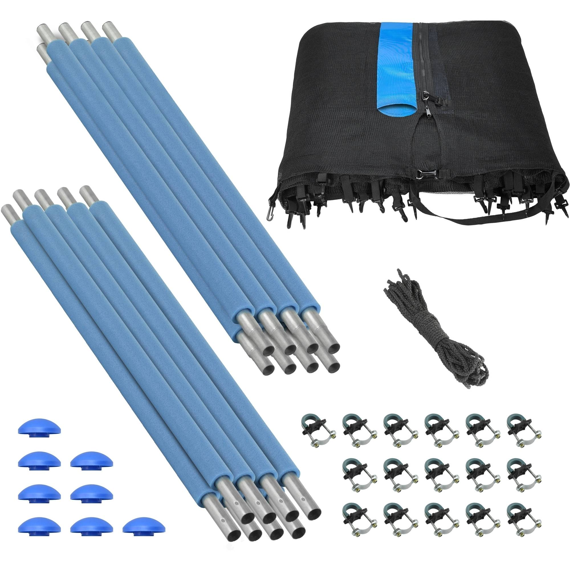Trampoline Enclosure Set, to fit 10 FT. Round Frames, for 4 or 8 W-Shaped Legs -Set Includes: Net, Poles & Hardware Only