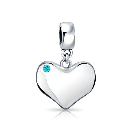Bling Jewelry Silver Simulated Aquamarine Crystal Heart Bead Charm Crystal Open Heart Charm