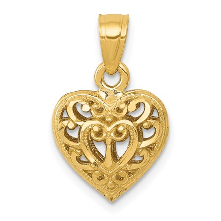 (14k Yellow Gold 3d Filigree Heart Necklace Pendant Charm Love Fine Jewelry For Women Gift Set)
