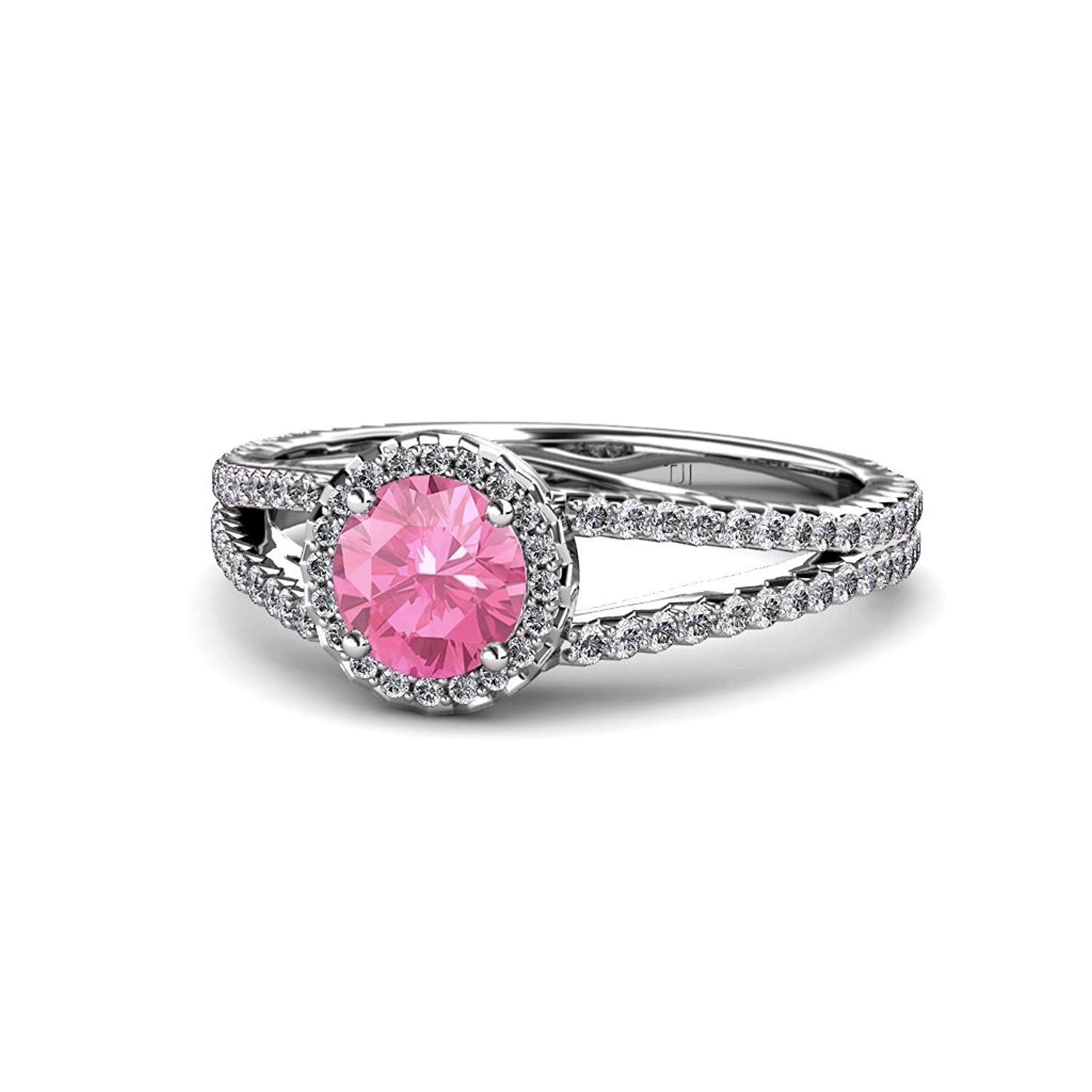 Pink Tourmaline and Diamond (SI2-I1, G-H) Halo Engagement Ring 1.38 ct tw in 14K White Gold.size 4.5 by TriJewels