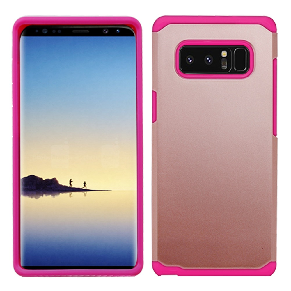 Kaleidio Case For Samsung Galaxy Note 8 [Astro Armor] Rugged Slim Fit [Shock Absorption] [Dual Layer] Hard Hybrid Cover w/ Overbrawn Prying Tool [Rose Gold/Pink]