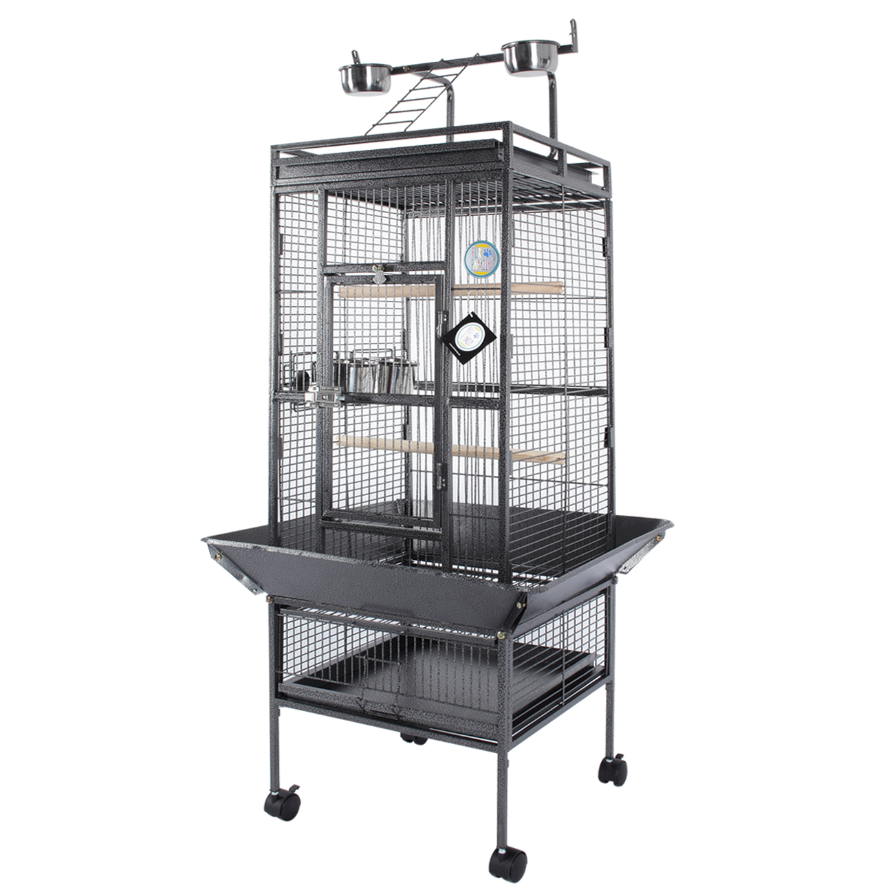 Fur Family Deluxe Bird Cage Large w  Wheel Play Top Parrot Finch Perch Cage Macaw Cockatoo by Fur Family