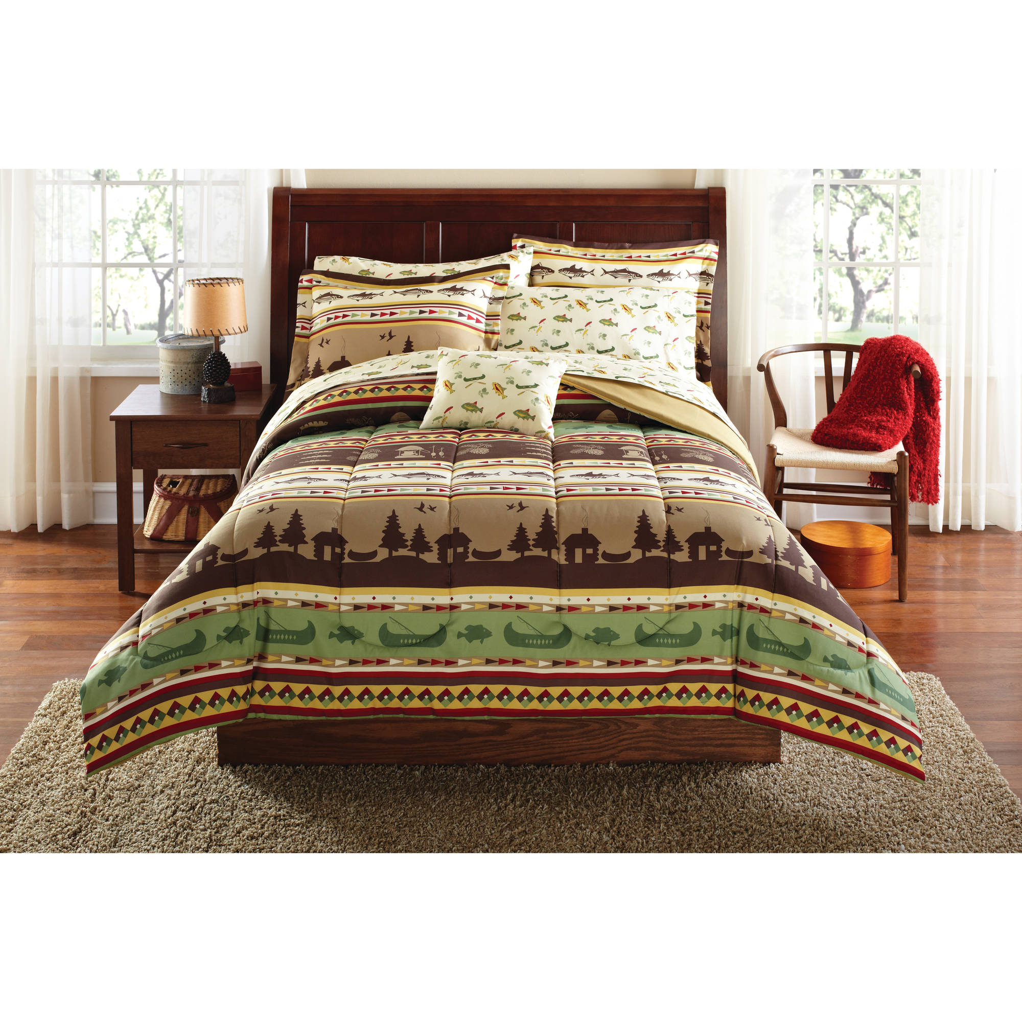 Mainstays Gone Fishing Bed In A Bag Coordinating Bedding Set   Walmart.com