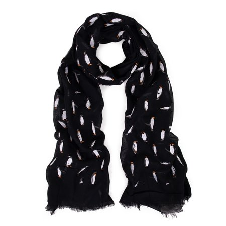 - Adorable Penguin Animal Print Fun Pattern Trendy Frayed End Fashion Scarf Wrap