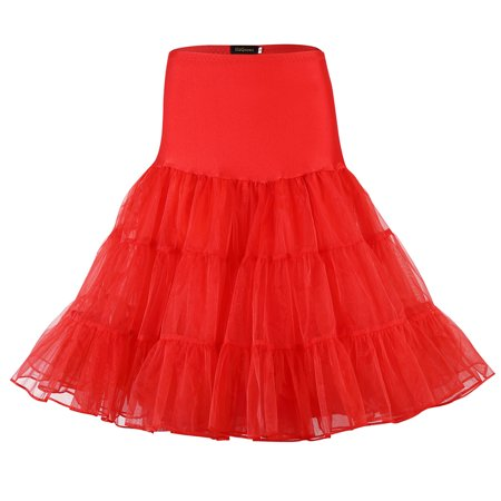 Women 50s Petticoat Skirts Boneless Crystal Yarn Tutu Crinoline Underskirt Color:Red Size:S](Diy 50s Skirt)