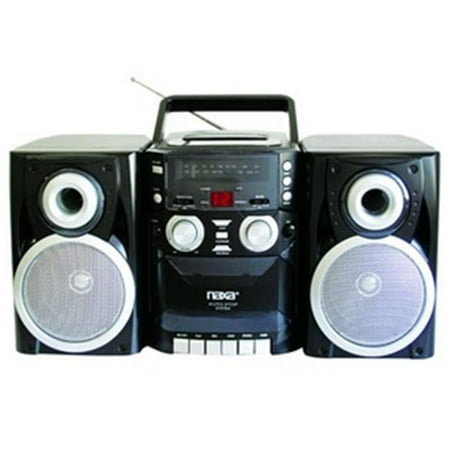 Portable CD Player with AM-FM Stereo Radio Cassette Player-Recorder and Twin Detachable Speakers