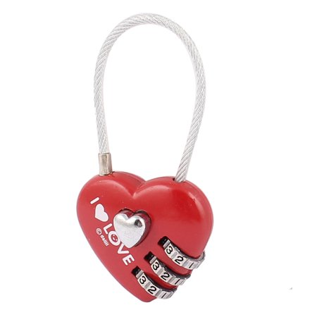 Heart Shape 0-9 Number Resettable Combination Lock Padlock