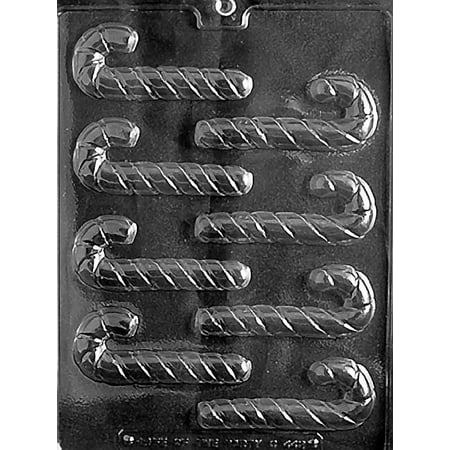 Small Candy Canes Chocolate Mold - C442 - Includes Melting & Chocolate Molding Instructions