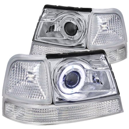 Spec-D Tuning For 1998-2000 Ford Ranger Halo Projector Headlight Chrome + Corner Lights Bumper Turn Signal Lamp (Left+Right) 1998 1999 2000