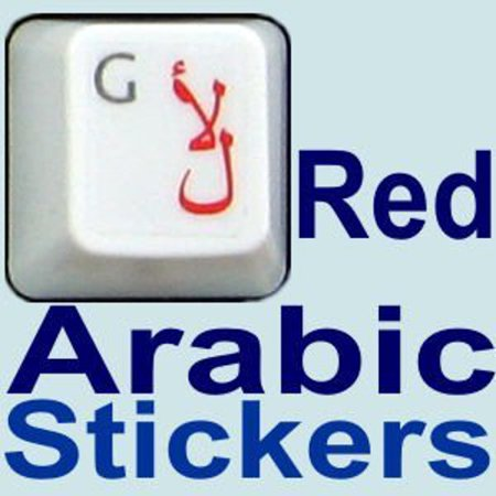 HQRP Arabic QWERTY Keyboard Stickers on Transparent Background for All PC  MAC Desktops & Laptops with Red Lettering