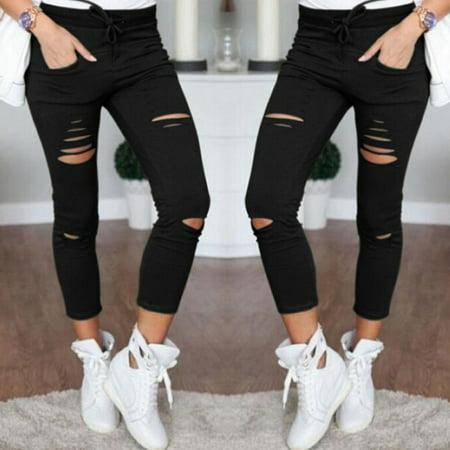 Slim Womens Leggings (High Waist Slim Skinny Women Leggings Stretchy Pants Jeggings Pencil Pants Black Size XL)