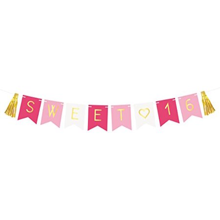 Sweet 16 Birthday Banner – Sweet Sixteen Decorations, Party Favors, Supplies, Gifts, Themes and Ideas - Milestone Happy Birthday Decorations - Sweet 16 Theme Ideas List