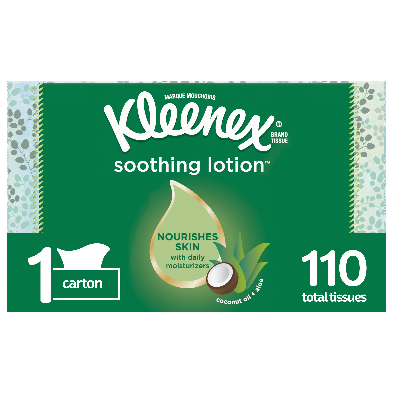 Kleenex Soothing Lotion Facial Tissue with Coconut Oil, Aloe & Vitamin E, 1 Rectangular Tissue Box, 110 Tissues