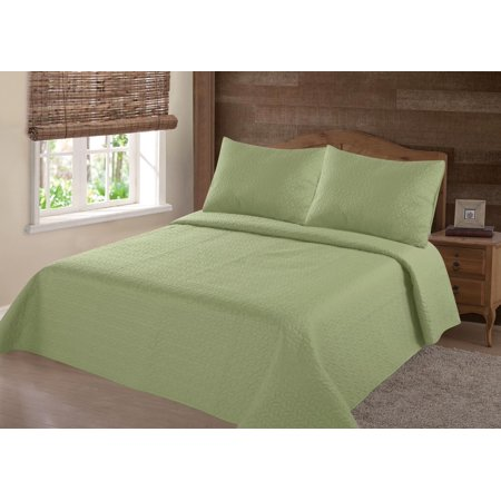 MODREN COLLECTION 1900 COUNT QUEEN NENA SAGE GREEN  SOLID CLOSOUT QUILT BEDDING BEDSPREAD COVERLET PILLOW CASES SET