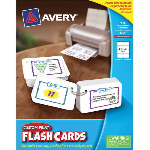 """Avery Printable Flashcards with Ring, 2.5"""" x 4"""", 200-Count"""