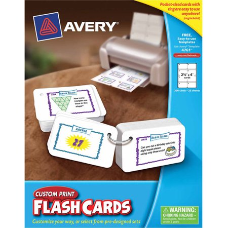 Avery Printable Flashcards With Ring 2 5 X 4 200 Count Walmart Com