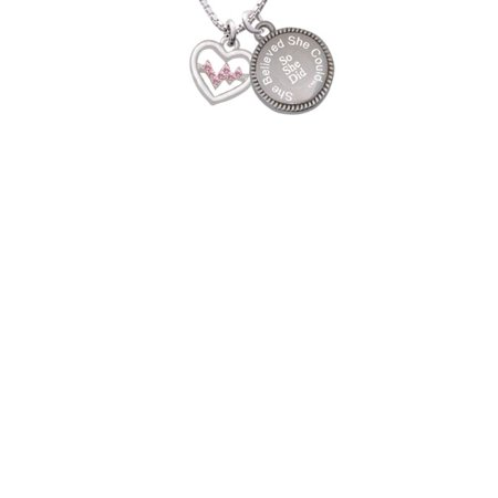 Pink Crystal Heart (Heart with Pink Crystal Heartbeat She Believed She Could So She Did Engraved)