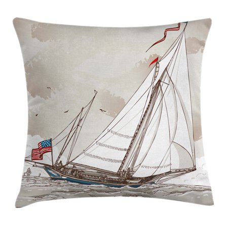 Vintage Throw Pillow Cushion Cover, Illustration of a Retro View of Antique American Yacht with Flags Ocean, Decorative Square Accent Pillow Case, 16 X 16 Inches, Light Grey Tan White, by Ambesonne ()