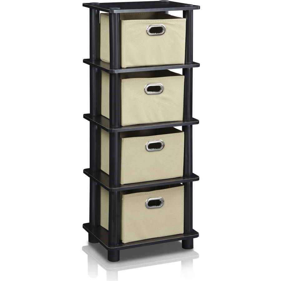 Furinno LACi 4-Bin System Rack, Multiple Finishes