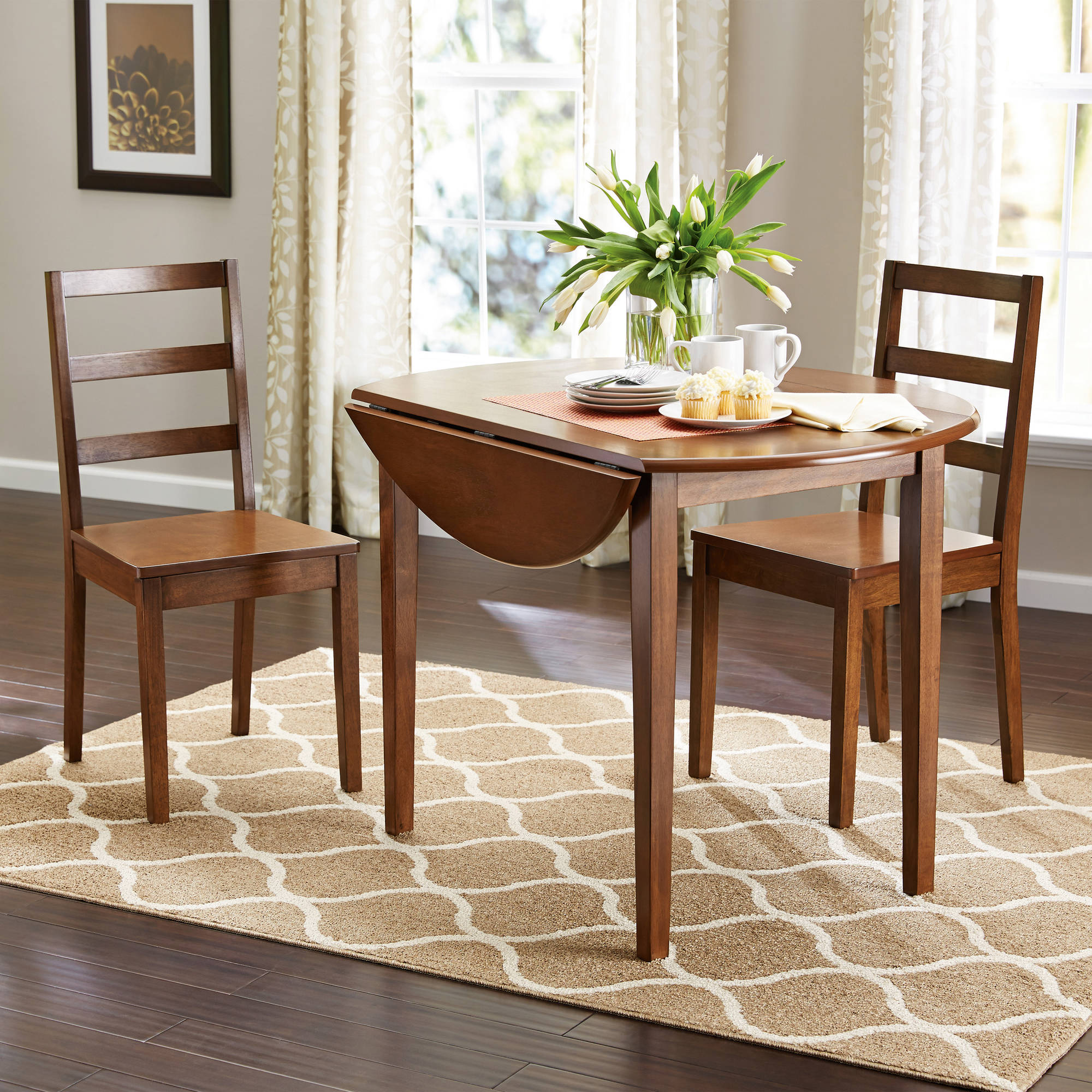 Beau Mainstays 3 Piece Drop Leaf Dining Set, Medium Oak Finish