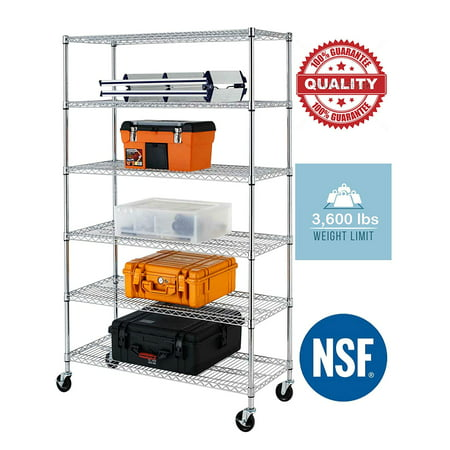 "NSF Wire Shelving Unit 6-shelf Large Storage Shelves Heavy Duty Metal Wire Rack Shelving Height Adjustable Commercial Grade Utility Steel Storage Rack on 4"" Casters 3600 LBS Capacity-18x48x76,Chrome Large Heavy Duty Metal"