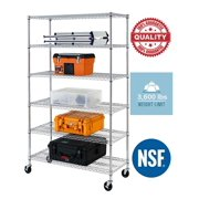 """NSF Wire Shelving Unit 6-shelf Large Storage Shelves Heavy Duty Metal Wire Rack Shelving Height Adjustable Commercial Grade Utility Steel Storage Rack on 4"""" Casters 3600 LBS Capacity-18x48x76,Chrome"""