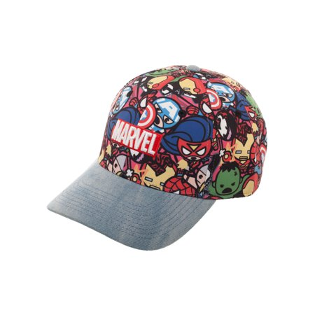 Marvel Kawaii Avengers Denim Baseball Hat with Curved Bill