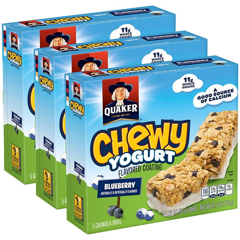 (3 Pack) Quaker Chewy Yogurt Granola Bars, Blueberry, 5 Count