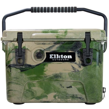 Elkton Outdoors 20 Quart Ice Chest With Bear Resistant Lock Plates, Bottle Opener, Easy Grab Handles & High Performance Commercial Grade Insulation (Camo)