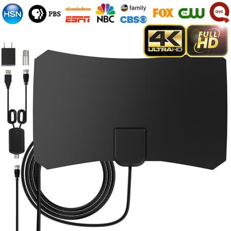 Upgraded HDTV Antenna for Indoor, 60-80 Miles Long Range Amplified High  Reception Digital TV Antenna Kit , Support Adjustable Amplifier Signal  Booster