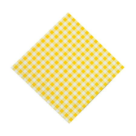 Fun Express - Yellow Gingham Luncheon Napkins (48pc) - Party Supplies - Print Tableware - Print Napkins - 48 Pieces ()