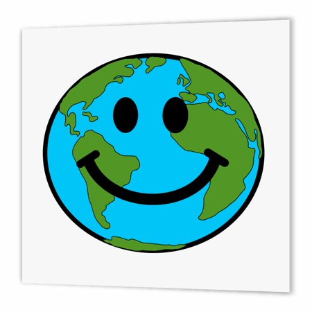 3Drose Happy Earth Smiley Face   Smiling Planet Globe   Eco Green Smile Peaceful World Peace Cute Smilie  Iron On Heat Transfer  10 By 10 Inch  For White Material