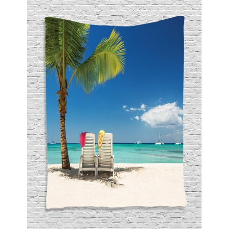 Palm Tree Scene (Seaside Tapestry, Relaxing Scene on Remote Beach with Palm Tree Chairs And Boats Panoramic Picture, Wall Hanging for Bedroom Living Room Dorm Decor, Blue Green, by)
