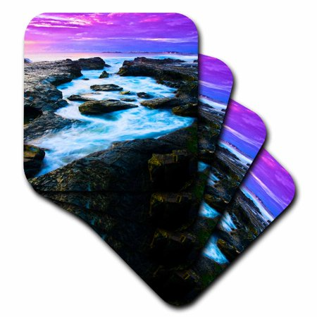 3dRose Stunning ocean photography with high definition digital enhancement, Soft Coasters, set of 4